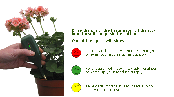 the fertometer in use in potted plants