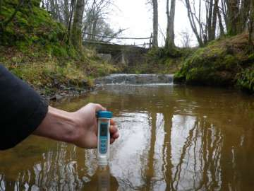 EC meter measures river water
