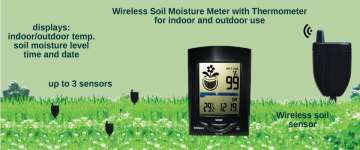Plant care with wireless soil moisture monitor