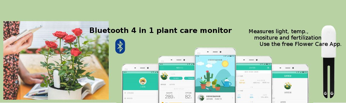 Bluetooth 4in1 plant care monitor measures light, temp., moisture and fertilization