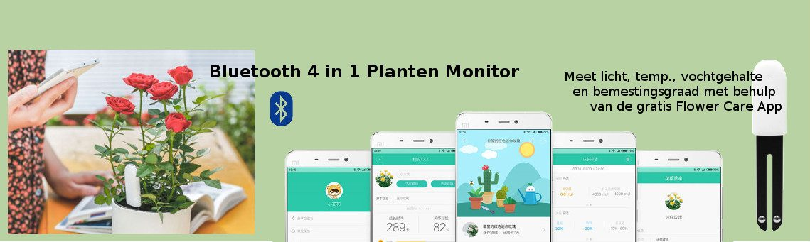Direct in de grond bemesting meten met de 4in1 Bleutooth Planten  Monitor